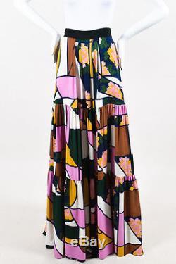 Roksanda NWT $2360 Multicolor Crepe Silk Printed Eileen Tiered Maxi Skirt SZ 10