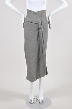 Roland Mouret Gray Black Linen Houndstooth Pleated Slit Maxi Pencil Skirt SZ 4