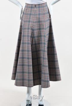Rosie Assoulin NWOT Cream Multicolor Wool Plaid Gathered Split Skirt SZ 4
