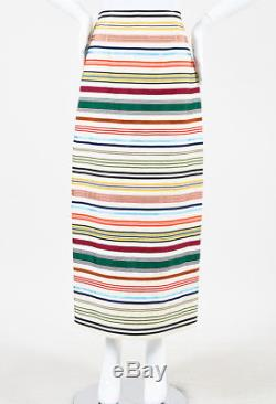 Rosie Assoulin NWT Beige Multicolor Striped Ribbon Pencil Maxi Skirt SZ 6