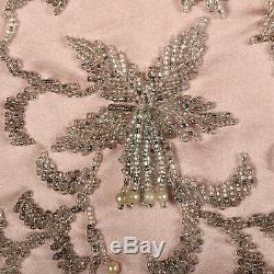 S 1960s Pink Dress 2 Piece Maxi Skirt Beaded Silk Blouse Evening Gown 60s VTG