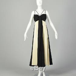 S Black & White Maxi Dress 1960s Empire Waist Bow Bodice Full Long Skirt 60s VTG