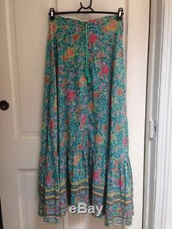 SPELL DESIGNS Folk Town Button Down Maxi Skirt Turquoise Size S