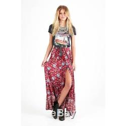 SPELL DESIGNS Folk Town Button Down Maxi Skirt Wine Size S