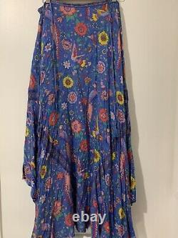 SPELL LOVEBIRD skirt Size L Blue Rare Vintage