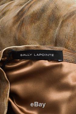 Sally LaPointe NWT $1850 Brown Multicolor Silk Chiffon Overlay Maxi Skirt SZ 6