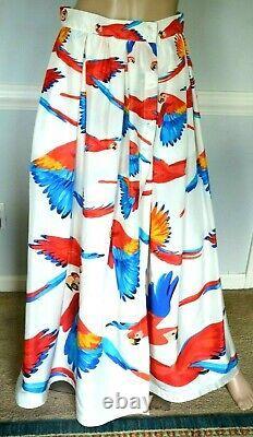 Sara Roka Parrot Bird Tropical Dress Long Maxi Summer Silk Skirt US 4 6 / IT 42