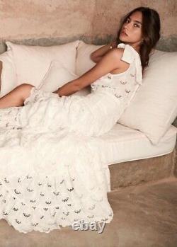 Sezane Eyelet White Maxi Skirt 34 US 2 XS
