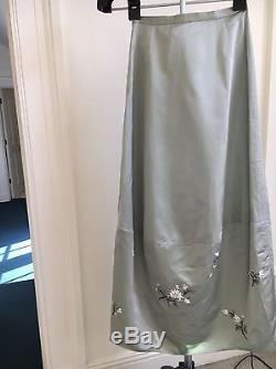 Shaitzy Chen Luxury Desinger Green Silk Fashion Embroidered Maxi Skirt size PS