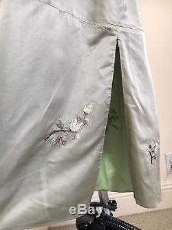 Shiatzy Chen Luxury Desinger Green Silk Fashion Embroidered Maxi Skirt size PS