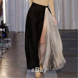 Show Patchwork Organza Pleated Skirt Vintage Contrast color Long Maxi Skirts