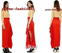 Solace London Red Satin Ruffled Side Split Belted Maxi Skirt