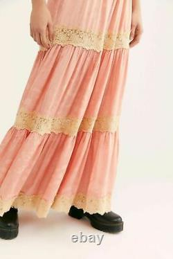 Spell And The Gypsy Collective X Free People Maxi Satin Lace Flowy Skirt Pink S