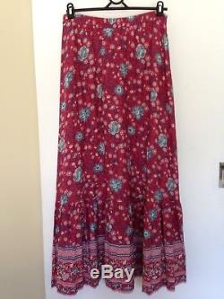 Spell Designs Folk Town Button Down Maxi skirt Wine Size M