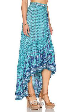 Spell Designs & The Gypsy Collective Sunset Road Aqua Wrap Maxi Skirt-m