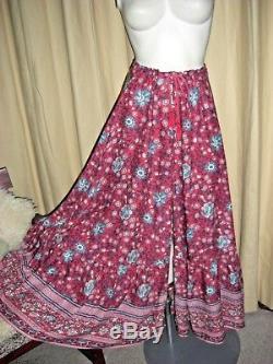 Spell Designs Wine Folk Town Maxi Skirt Button Front XS