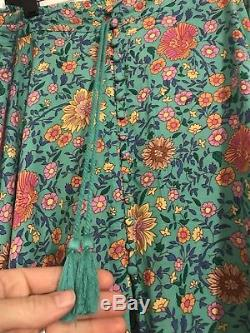 Spell Gypsy Folktown Maxi Skirt Turquoise L