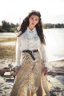 Spell & Gypsy Jungle Split Maxi Skirt Side Slits Tiger Print SMALL AUS 8