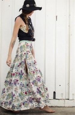 Spell & The Gypsy Gypsy Queen Rainbow Bold Floral Print Cream Split Maxi Skirt S