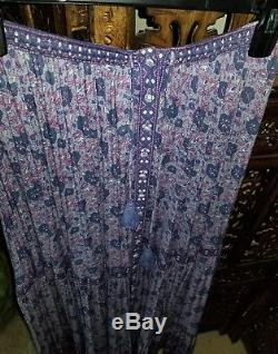 Spell & The Gypsy Kombi Lavender Purple Print Maxi Skirt Button Down Flowing
