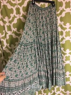 Spell & The Gypsy Kombi Sage Green White Full Sweep Print Maxi Skirt EUC Small