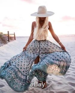 Spell & The Gypsy Kombi Sage Green White Full Sweep Print Maxi Skirt NWT sz L