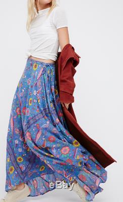 Spell & The Gypsy Lovebird Half Moon Blue Bird Floral Print Maxi Skirt XS EUC