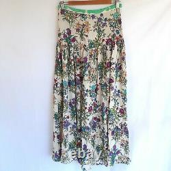 Spell & The Gypsy Size M Gypsy Queen Maxi Skirt Side Splits White w Floral Boho