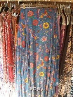Spell and the Gypsy Collective Designs Lovebird Maxi Skirt Blue sz L EUC