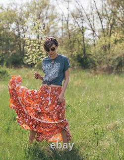 Spell & the Gypsy Collective REVOLVER Skirt ORANGE FLORAL Maxi M RARE