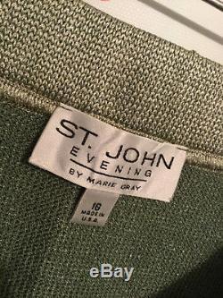 St. John Evening Size 16 Shimmery Green Skirt