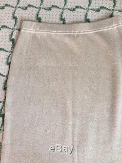 St. John Evening by Marie Gray Santana Knit Gold Maxi Skirt Slit Holiday Sz 12