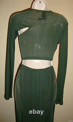 Stunning, Curve Kissing, Rare Jean Paul Gaultier Crop Green Top & Maxi Skirt Set