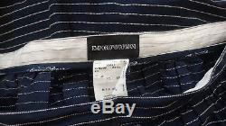 Stunning rare EMPORIO ARMANI Navy blue textured pinstripe full maxi skirt Sz 16