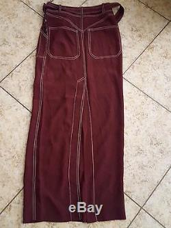 Sz 34 Hermes Paris Burgundy Maroon long Maxi Skirt Dress 100% Silk withBelt Tan