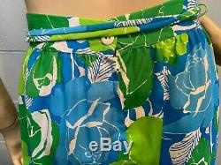 Sz 6 Green Blue Floral Vtg 60s The Lilly Pulitzer MAXI Skirt Long Lace Trim