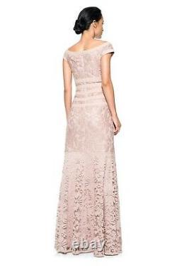 TADASHI SHOJI Antique Pink Textured Lace Flare Skirt Mermaid Gown Dress 16 XL