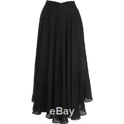 THE ROW Ellena pleated silk chiffon long midi maxi ballet skirt BLACK 2 XS