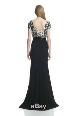 THEIA Sz 10 Long Beaded Gown Overlay Top Trumpet Skirt Silk Blend Holiday Dress