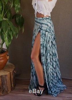 TJD Jetset Diaries Aqua Green Bojo Long Flowing High Slit Serpiente Maxi Skirt M