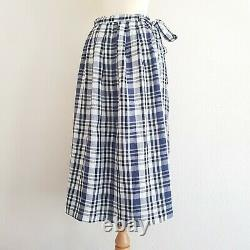 TOAST Black Ecru & Navy Linen Check Pleated Maxi Skirt with Pockets UK10