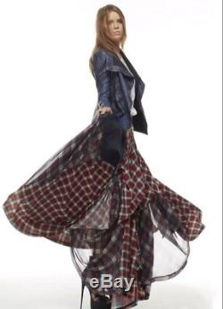 TOV HOLY The Damsel's Red Plaid Flowing Maxi Skirt (NWT) S M L XL MSRP $216