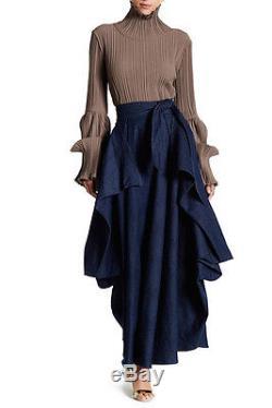 TOV Holy Pleated Blue Denim Maxi Skirt Sz S 38 $194 NWT
