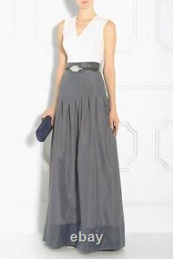 Temperley Silver Long Pleated Silk Palais Skirt Maxi Taffeta Party Dress UK 12