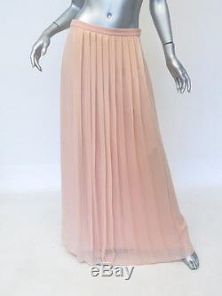 Tibi Maxi Skirt Pleated Chiffon Size 6 Peach Silk Long