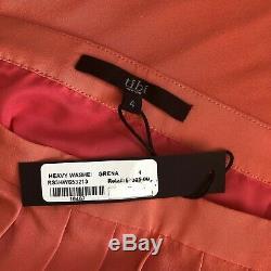 Tibi NWT 4 Heavy Washed Silk Pleated Maxi Skirt Grenadine Bright Pink Side Slit