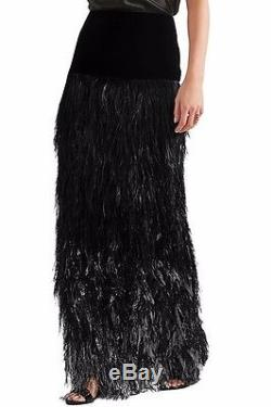 Tom Ford RUNWAY Ostrich Feather Ombre Column Maxi Skirt Size 42IT (US 8)