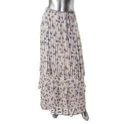 Tory Burch 1550 Womens Ivory Floral Print Tiered Silk Maxi Skirt 6 BHFO