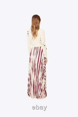 Tory Burch Lucea Maxi Skirt Resort 2017 4 Zebra Print Silk S