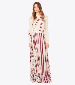 Tory Burch Lucea Printed Crinkled-Chiffon Maxi Skirt Size4 $695 NWT